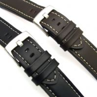 Heavy Chunky Leather Watch Strap White Stitching Black or Brown 18mm - 24mm C020